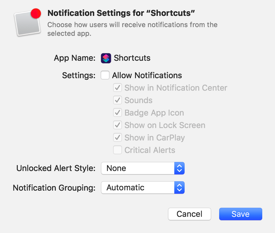 Notification Settings for Shortcuts in Apple Configurator 2