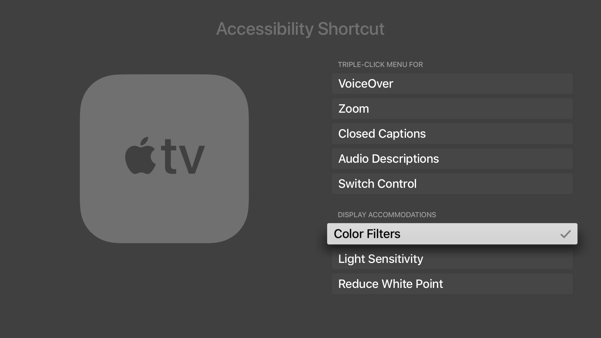 'Accessibility Shortcut' settings in tvOS