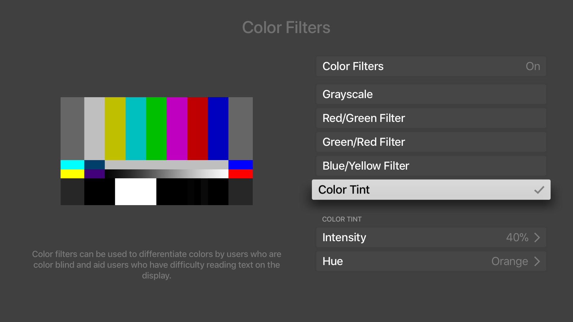 'Color Filter' settings in tvOS